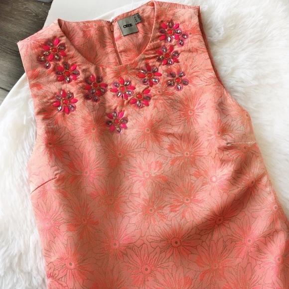ASOS Dresses & Skirts - ASOS Coral Brocade Party Prom Dress w/Jewel Bib